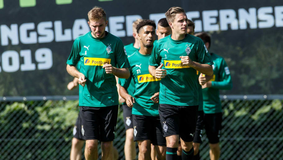ROTTACH-EGERN, GERMANY - JULY 24: Patrick Herrmann of Moenchengladbach looks on during the Borussia Moenchengladbach training camp on July 24, 2018 in Rottach-Egern, Germany. (Photo by TF-Images/Getty Images)