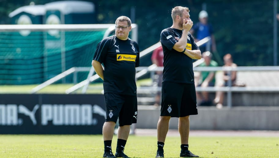 ROTTACH-EGERN, GERMANY - JULY 25: Sporting director Max Eberl of Borussia Moenchengladbach and Physiotherapist Hendrik Schreiber of Borussia Moenchengladbach look on during the Borussia Moenchengladbach training camp on July 25, 2018 in Rottach-Egern, Germany. (Photo by TF-Images/Getty Images)
