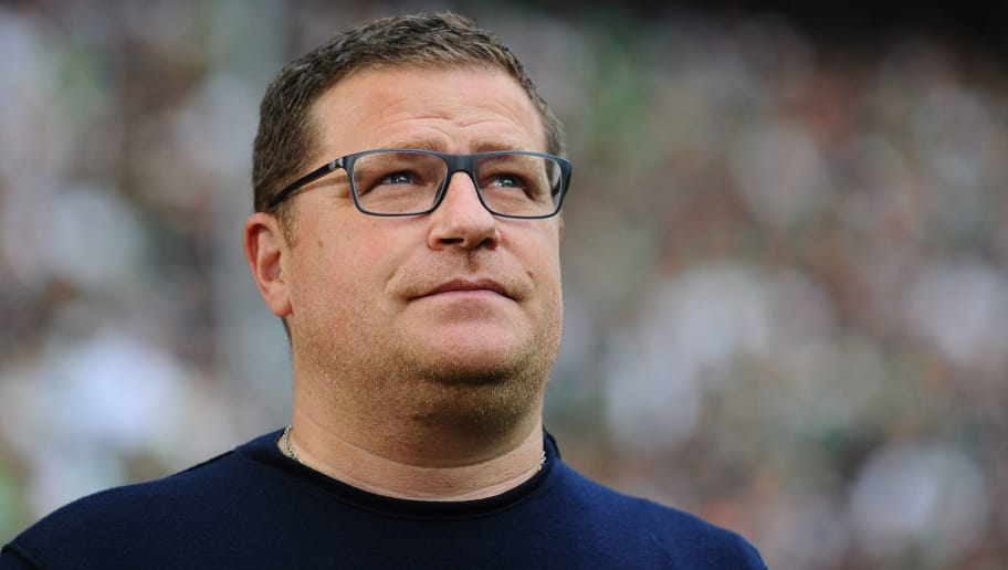MOENCHENGLADBACH, GERMANY - AUGUST 20: Max Eberl of Gladbach looks on during the Bundesliga match between Borussia Moenchengladbach and 1. FC Koeln at Borussia-Park on August 20, 2017 in Moenchengladbach, Germany. (Photo by TF-Images/TF-Images via Getty Images)