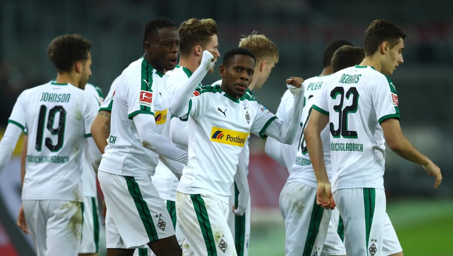 MOENCHENGLADBACH, GERMANY - DECEMBER 18:  Ibrahima Traore of Borussia Monchengladbach celebrates after Thorgan Hazard scores their sides first goal during the Bundesliga match between Borussia Moenchengladbach and 1. FC Nuernberg at Borussia-Park on December 18, 2018 in Moenchengladbach, Germany.  (Photo by Lars Baron/Bongarts/Getty Images)