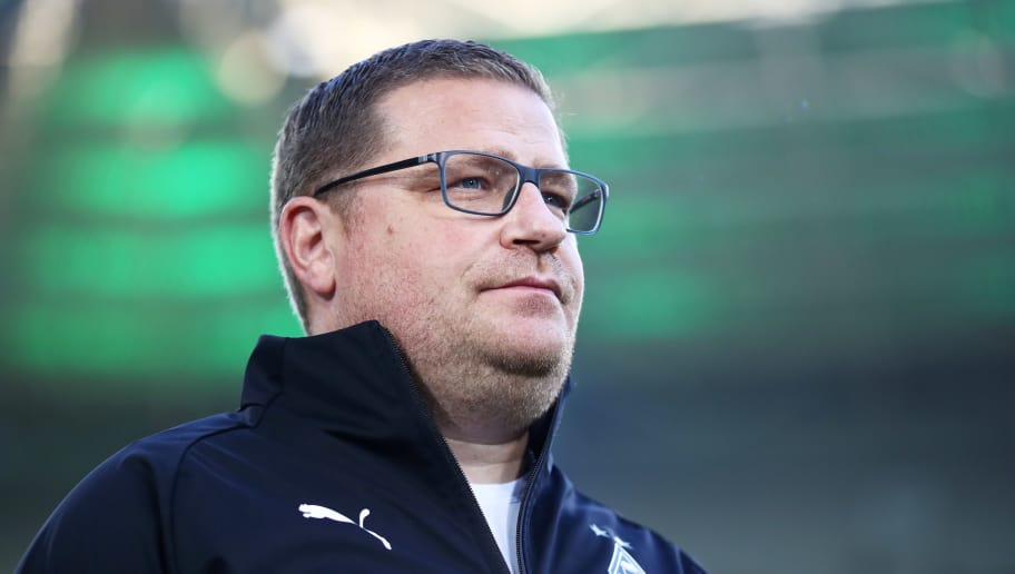 MOENCHENGLADBACH, GERMANY - OCTOBER 21:  Max Eberl, Borussia Moenchengladbach Director of Sport looks on prior to the Bundesliga match between Borussia Moenchengladbach and 1. FSV Mainz 05 at Borussia-Park on October 21, 2018 in Moenchengladbach, Germany.  (Photo by Alex Grimm/Bongarts/Getty Images)