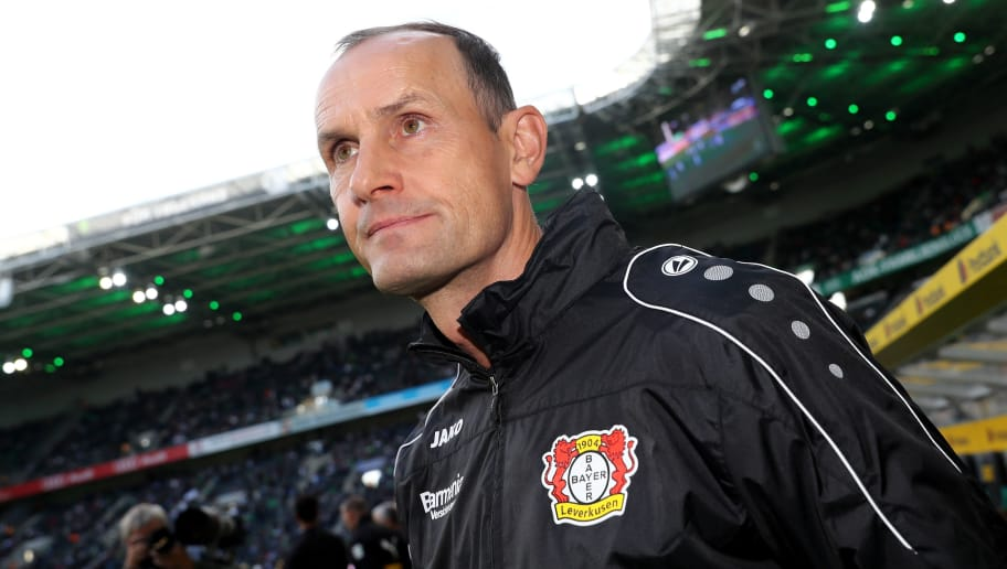 MOENCHENGLADBACH, GERMANY - AUGUST 25: Head coach Heiko Herrlich of Leverkusen looks on prior to the Bundesliga match between Borussia Moenchengladbach and Bayer 04 Leverkusen at Borussia-Park on August 25, 2018 in Moenchengladbach, Germany. (Photo by Christof Koepsel/Bongarts/Getty Images)