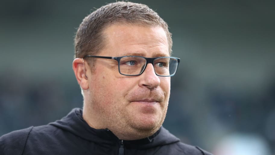 MOENCHENGLADBACH, GERMANY - AUGUST 25: Manager Max Eberl of Moenchenlgadbach looks on during the Bundesliga match between Borussia Moenchengladbach and Bayer 04 Leverkusen at Borussia-Park on August 25, 2018 in Moenchengladbach, Germany.  (Photo by Lars Baron/Bongarts/Getty Images)