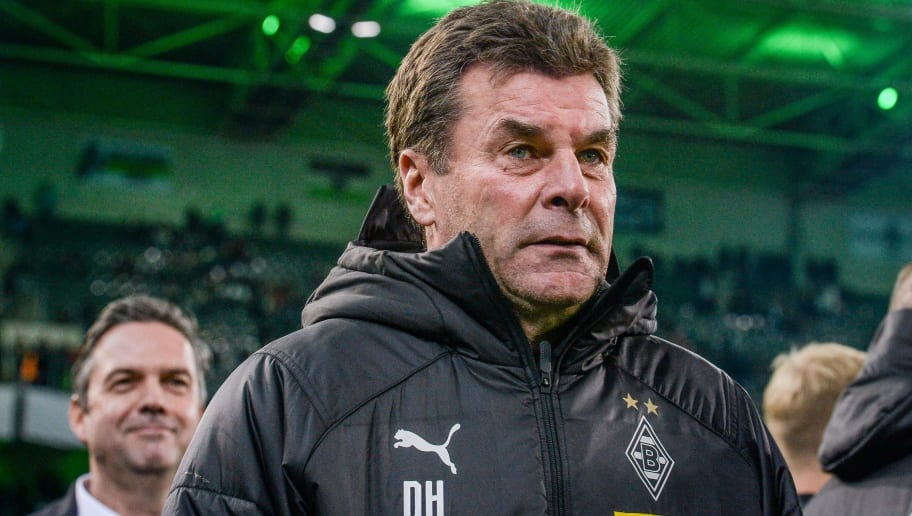 MOENCHENGLADBACH, GERMANY - OCTOBER 31: Head coach Dieter Hecking of Borussia Moenchengladbach looks on prior the DFB Cup match between Borussia Moenchengladbach and Bayer 04 Leverkusen at Borussia-Park on October 31, 2018 in Moenchengladbach, Germany. (Photo by TF-Images/Getty Images)