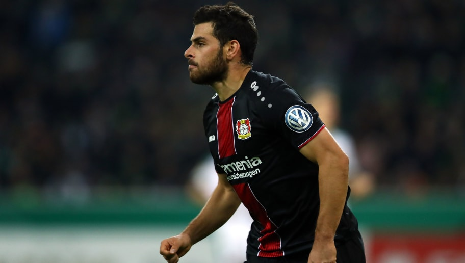 MOENCHENGLADBACH, GERMANY - OCTOBER 31: Kevin Volland of Bayer Leverkusen celebrates scoring his side's fifth goal during the DFB Cup match between Borussia Moenchengladbach and Bayer 04 Leverkusen at Borussia-Park on October 31, 2018 in Moenchengladbach, Germany. (Photo by Dean Mouhtaropoulos/Bongarts/Getty Images)