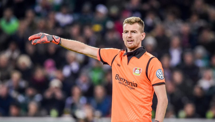 MOENCHENGLADBACH, GERMANY - OCTOBER 31: Goalkeeper Lukas Hradecky of Bayer 04 Leverkusen gestures during the DFB Cup match between Borussia Moenchengladbach and Bayer 04 Leverkusen at Borussia-Park on October 31, 2018 in Moenchengladbach, Germany. (Photo by TF-Images/Getty Images)