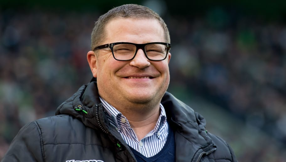 MOENCHENGLADBACH, GERMANY - MARCH 19: Director of Sports Max Eberl of Borussia Moenchengladbach laughs during the Bundesliga match between Borussia Moenchengladbach and Bayern Muenchen at Borussia-Park on March 19, 2017 in Moenchengladbach, Germany. (Photo by TF-Images/Getty Images)
