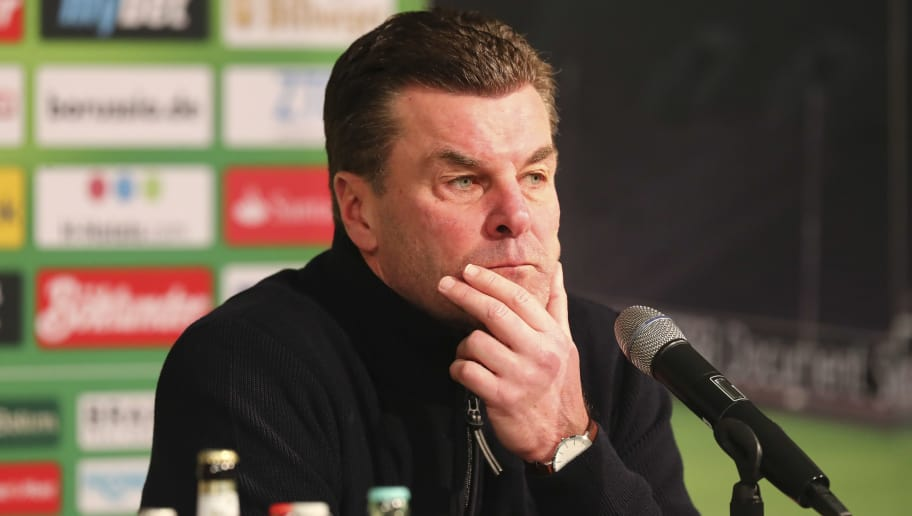 MOENCHENGLADBACH, GERMANY - FEBRUARY 18: Head coach Dieter Hecking of Moenchengladbach attends the press conference after the Bundesliga match between Borussia Moenchengladbach and Borussia Dortmund at Borussia-Park on February 18, 2018 in Moenchengladbach, Germany. (Photo by TF-Images/Getty Images)