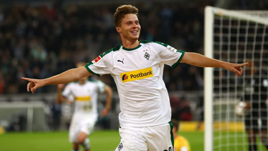 MOENCHENGLADBACH, GERMANY - SEPTEMBER 26:  Nico Elvedi of Borussia Monchengladbach celebrates after scoring his team's third goal during the Bundesliga match between Borussia Moenchengladbach and Eintracht Frankfurt at Borussia-Park on September 26, 2018 in Moenchengladbach, Germany.  (Photo by Dean Mouhtaropoulos/Bongarts/Getty Images)