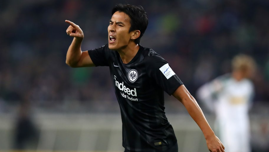 MOENCHENGLADBACH, GERMANY - SEPTEMBER 26:  Makoto Hasebe of Eintracht Frankfurt reacts during the Bundesliga match between Borussia Moenchengladbach and Eintracht Frankfurt at Borussia-Park on September 26, 2018 in Moenchengladbach, Germany.  (Photo by Dean Mouhtaropoulos/Bongarts/Getty Images)