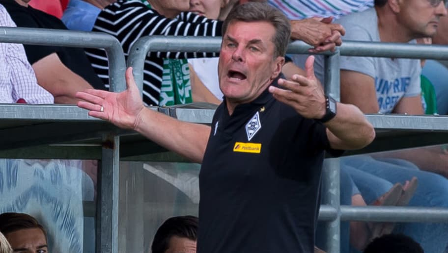 WEGBERG, GERMANY - AUGUST 11: Head coach Dieter Hecking of Borussia Moenchengladbach gestures during the friendly match beween Borussia Moenchengladbach and Espanyol Barcelona on August 11, 2018 in Wegberg, Germany. (Photo by TF-Images/Getty Images)