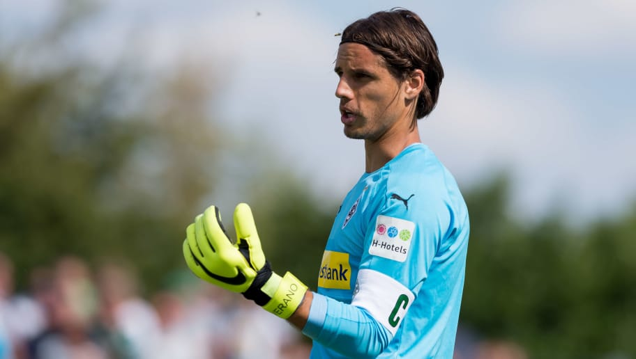 WEGBERG, GERMANY - AUGUST 11: Goalkeeper Yann Sommer of Borussia Moenchengladbach looks on during the friendly match beween Borussia Moenchengladbach and Espanyol Barcelona on August 11, 2018 in Wegberg, Germany. (Photo by TF-Images/Getty Images)