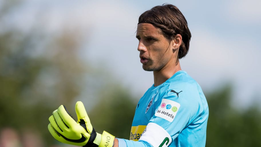 WEGBERG, GERMANY - AUGUST 11: Goalkeeper Yann Sommer of Borussia Moenchengladbach gestures during the friendly match beween Borussia Moenchengladbach and Espanyol Barcelona on August 11, 2018 in Wegberg, Germany. (Photo by TF-Images/Getty Images)