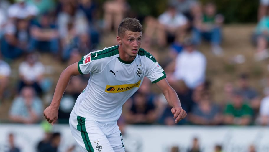 WEGBERG, GERMANY - AUGUST 11: Michael Cuisance of Borussia Moenchengladbach controls the ball during the friendly match beween Borussia Moenchengladbach and Espanyol Barcelona on August 11, 2018 in Wegberg, Germany. (Photo by TF-Images/Getty Images)