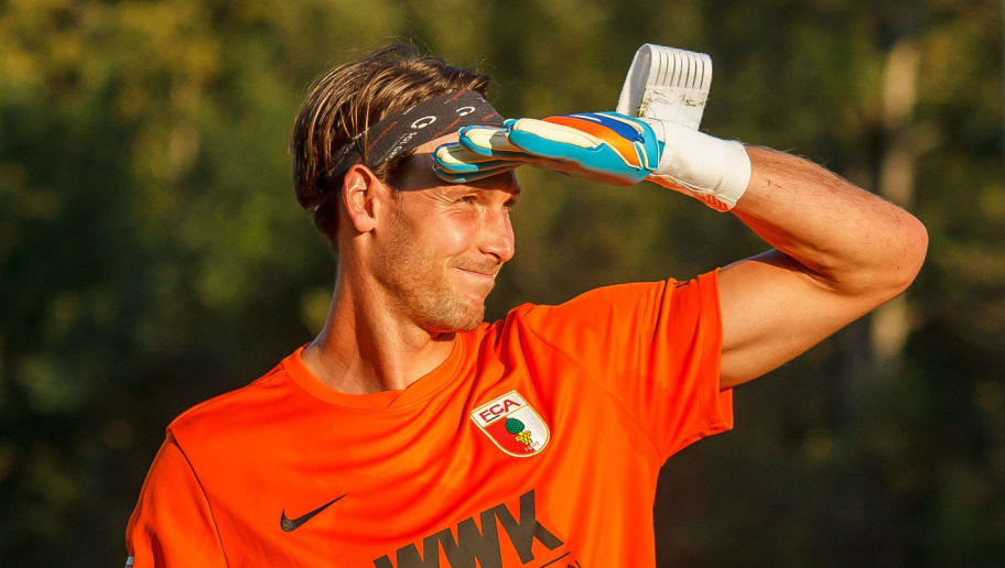 ROTTACH-EGERN, GERMANY - JULY 26: goalkeeper Fabian Giefer of FC Augsburg looks on during the Friendly match between Borussia Moenchengladbach and FC Augsburg on July 26, 2018 in Rottach-Egern, Germany. (Photo by TF-Images/Getty Images)