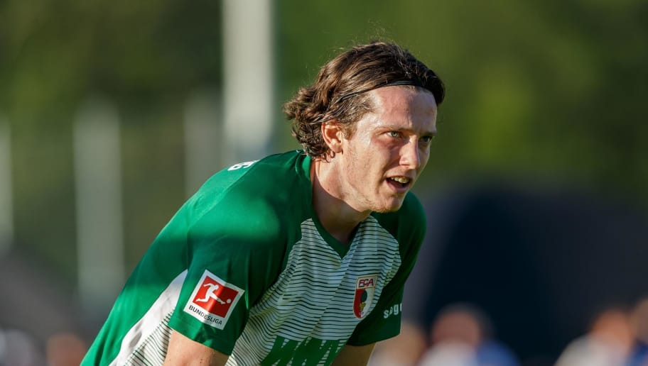 ROTTACH-EGERN, GERMANY - JULY 26: Michael Gregoritsch of FC Augsburg looks on during the Friendly match between Borussia Moenchengladbach and FC Augsburg on July 26, 2018 in Rottach-Egern, Germany. (Photo by TF-Images/Getty Images)