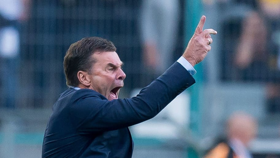 MOENCHENGLADBACH, GERMANY - SEPTEMBER 15: Head coach Dieter Hecking of Borussia Moenchengladbach gestures during the Bundesliga match between Borussia Moenchengladbach and FC Schalke 04 at Borussia-Park on September 15, 2018 in Moenchengladbach, Germany. (Photo by TF-Images/TF-Images via Getty Images)