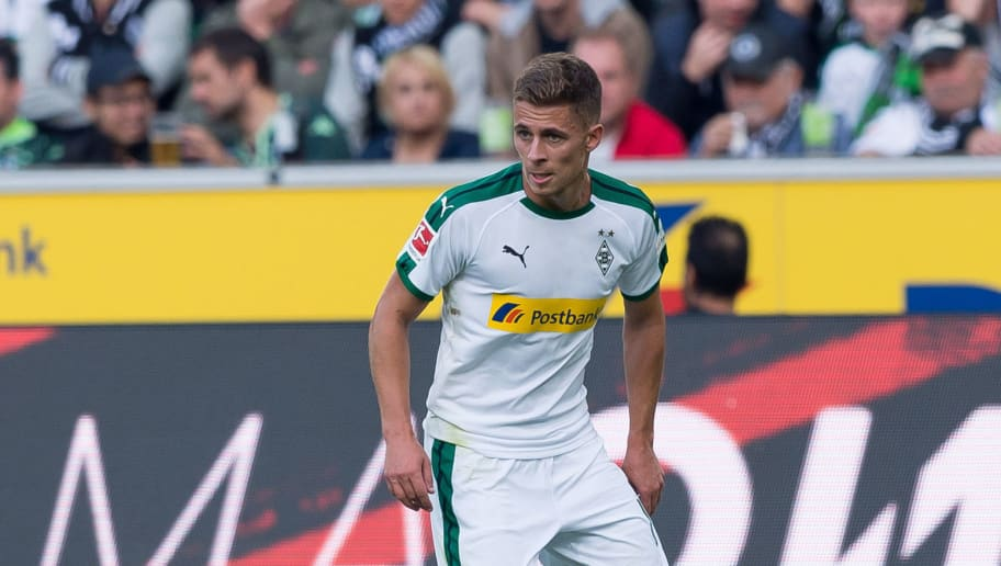 MOENCHENGLADBACH, GERMANY - SEPTEMBER 15: Thorgan Hazard of Borussia Moenchengladbach of controls the ball during the Bundesliga match between Borussia Moenchengladbach and FC Schalke 04 at Borussia-Park on September 15, 2018 in Moenchengladbach, Germany. (Photo by TF-Images/TF-Images via Getty Images)