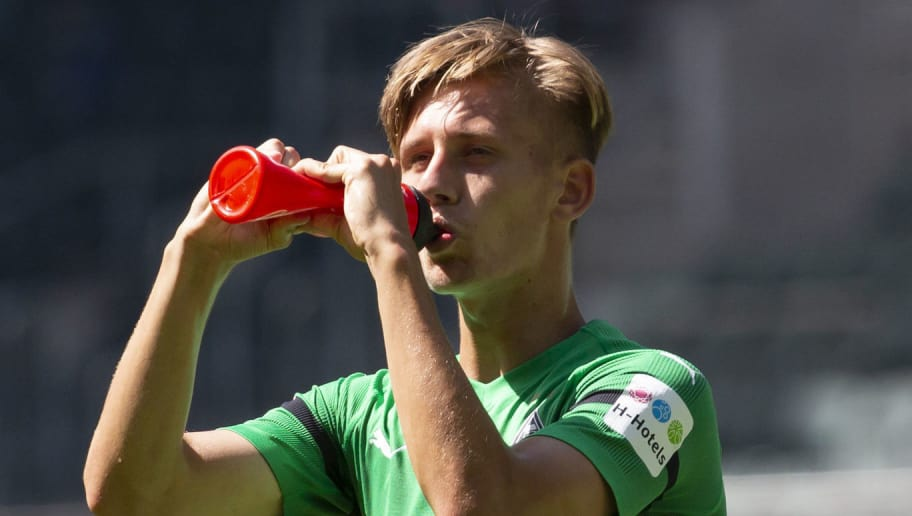MOENCHENGLADBACH, GERMANY - AUGUST 12: Torben Muesel of Borussia Moenchengladbach drinks during the friendly match between Borussia Moenchengladbach and FC Wegberg-Beeck at Borussia-Park on August 12, 2018 in Moenchengladbach, Germany. (Photo by TF-Images/Getty Images)