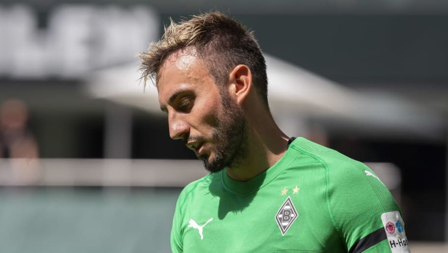 MOENCHENGLADBACH, GERMANY - AUGUST 12: Josip Drmic of Borussia Moenchengladbach looks on during the friendly match between Borussia Moenchengladbach and FC Wegberg-Beeck at Borussia-Park on August 12, 2018 in Moenchengladbach, Germany. (Photo by TF-Images/Getty Images)