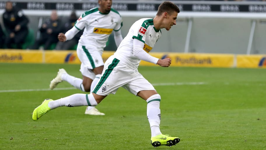 MOENCHENGLADBACH, GERMANY - NOVEMBER 04:  Thorgan Hazard of Borussia Monchengladbach celebrates after scoring his team's first goal during the Bundesliga match between Borussia Moenchengladbach and Fortuna Duesseldorf at Borussia-Park on November 4, 2018 in Moenchengladbach, Germany.  (Photo by Maja Hitij/Bongarts/Getty Images)