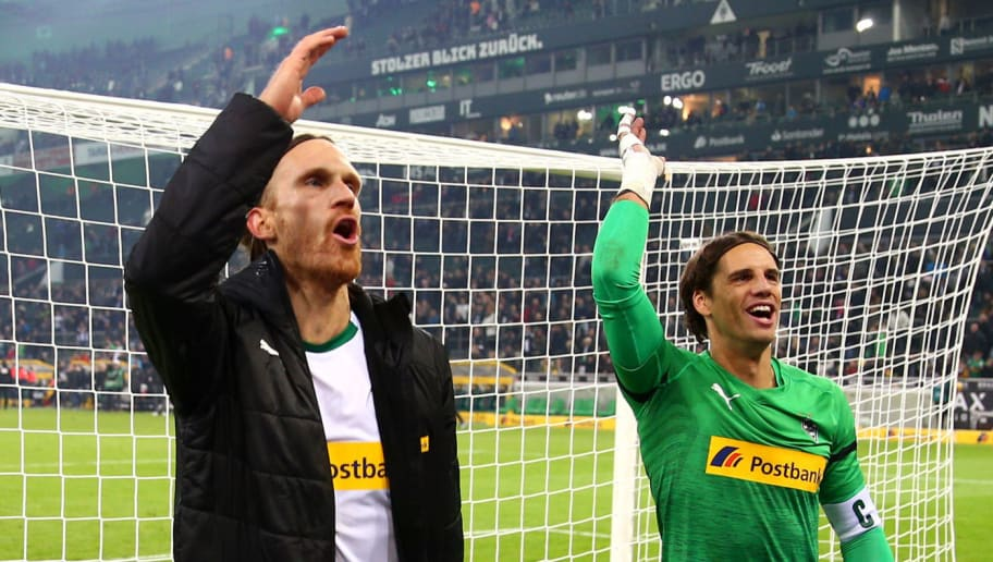 MOENCHENGLADBACH, GERMANY - NOVEMBER 04:  Michael Lang and Yann Sommer of Borussia Monchengladbach celebrate their team's victory after  the Bundesliga match between Borussia Moenchengladbach and Fortuna Duesseldorf at Borussia-Park on November 4, 2018 in Moenchengladbach, Germany.  (Photo by Maja Hitij/Bongarts/Getty Images)