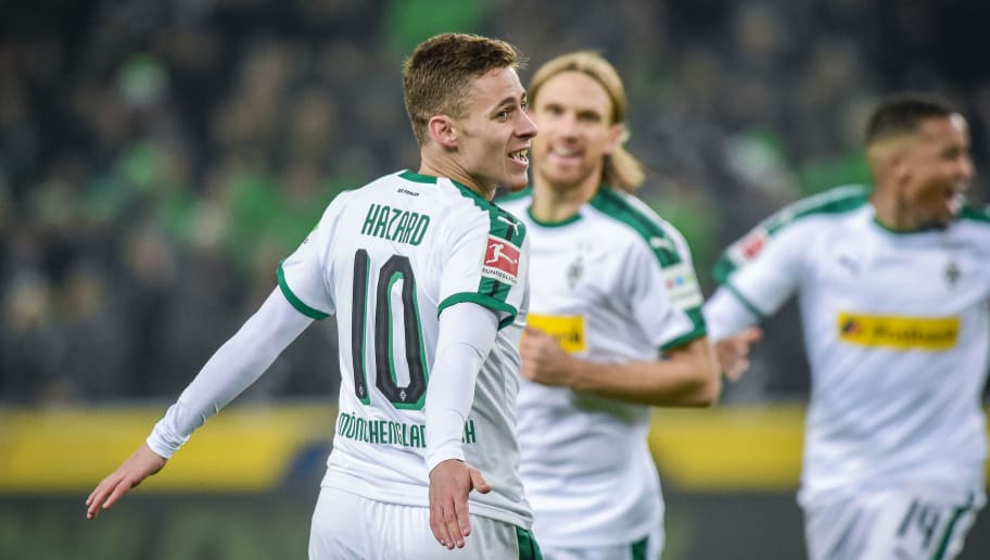 MOENCHENGLADBACH, GERMANY - NOVEMBER 25: Thorgan Hazard of Borussia Moenchengladbach celebrates after scoring his team`s first goal during the Bundesliga match between Borussia Moenchengladbach and Hannover 96 at Borussia-Park on November 25, 2018 in Moenchengladbach, Germany. (Photo by TF-Images/Getty Images)