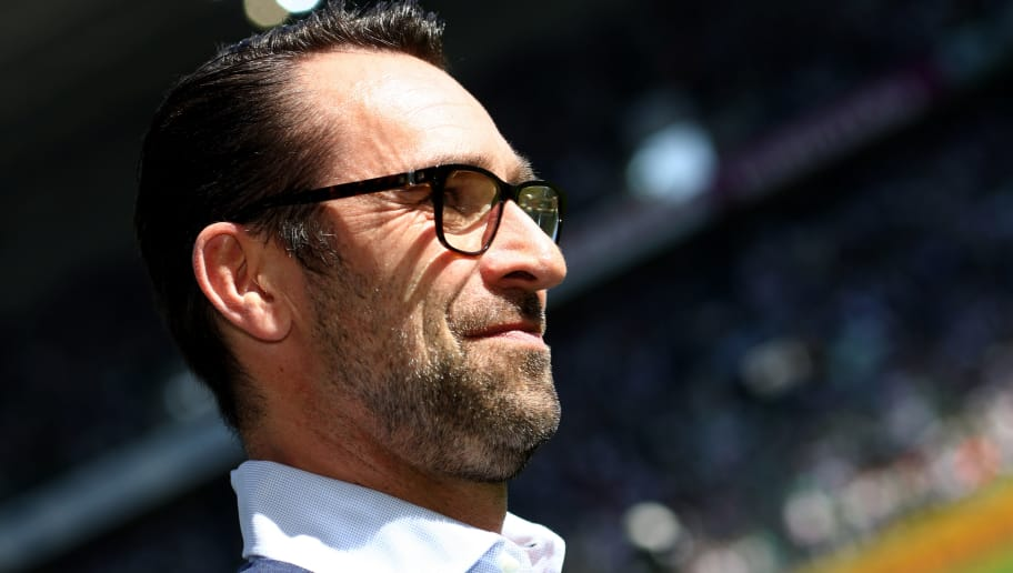MOENCHENGLADBACH, GERMANY - APRIL 07: Manager Michael Preetz of Berlin looks on prior to the Bundesliga match between Borussia Moenchengladbach and Hertha BSC at Borussia-Park on April 7, 2018 in Moenchengladbach, Germany. (Photo by Christof Koepsel/Bongarts/Getty Images)