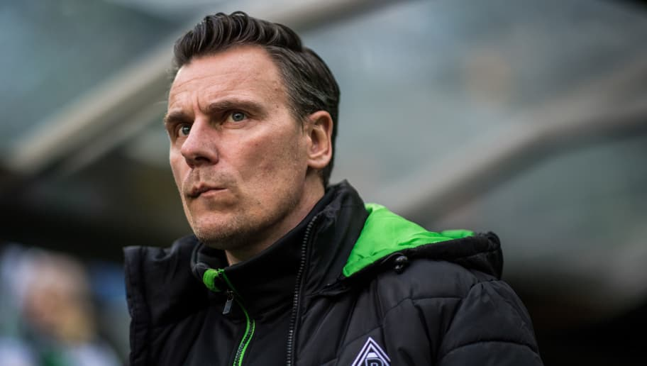 MOENCHENGLADBACH, GERMANY - APRIL 05: Teammanager Steffen Korell prior to the Bundesliga match between Borussia Moenchengladbach and Hertha BSC at Borussia-Park on April 5, 2017 in Moenchengladbach, Germany. (Photo by Lukas Schulze/Getty Images)
