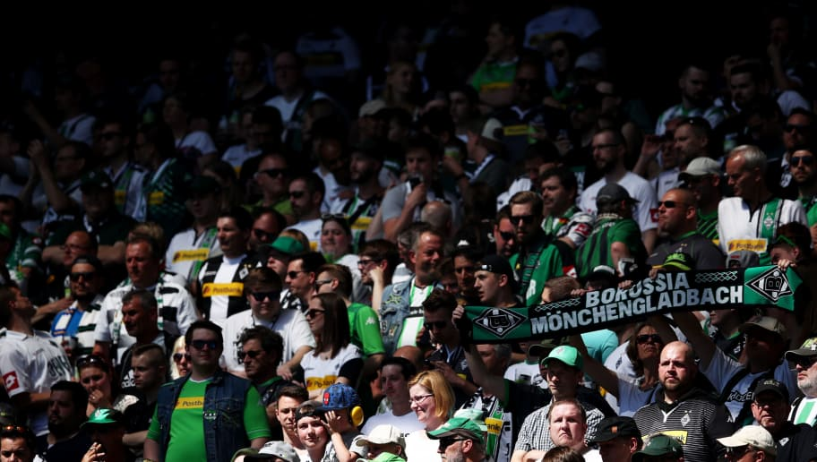 MOENCHENGLADBACH, GERMANY - MAY 05:  Fans of Moenchengladbach are seen during the Bundesliga match between Borussia Moenchengladbach and Sport-Club Freiburg at Borussia-Park on May 5, 2018 in Moenchengladbach, Germany.  (Photo by Lars Baron/Bongarts/Getty Images)