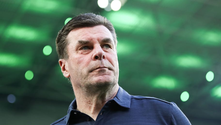 MOENCHENGLADBACH, GERMANY - APRIL 20: Head Coach Dieter Hecking of Moenchengladbach looks on prior the Bundesliga match between Borussia Moenchengladbach and VfL Wolfsburg at Borussia-Park on April 20, 2018 in Moenchengladbach, Germany. (Photo by Maja Hitij/Bongarts/Getty Images)