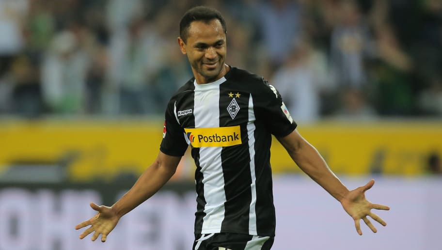 MOENCHENGLADBACH, GERMANY - APRIL 20: Raffael of Moenchengladbach celebrates after scoring his team`s second goal during the Bundesliga match between Borussia Moenchengladbach and VfL Wolfsburg at Borussia-Park on April 21, 2018 in Moenchengladbach, Germany. (Photo by TF-Images/Getty Images)