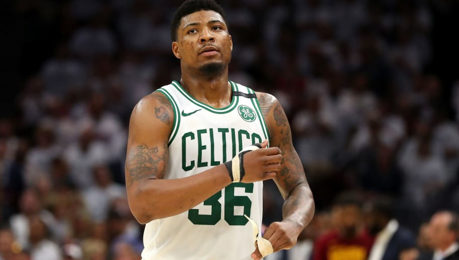 CLEVELAND, OH - MAY 25:  Marcus Smart #36 of the Boston Celtics looks on after being defeated by the Cleveland Cavaliers during Game Six of the 2018 NBA Eastern Conference Finals at Quicken Loans Arena on May 25, 2018 in Cleveland, Ohio. NOTE TO USER: User expressly acknowledges and agrees that, by downloading and or using this photograph, User is consenting to the terms and conditions of the Getty Images License Agreement.  (Photo by Gregory Shamus/Getty Images)