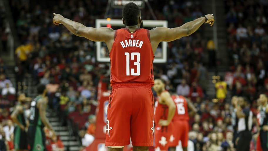 HOUSTON, TX - DECEMBER 27:  James Harden #13 of the Houston Rockets reacts in the first half against the Boston Celtics at Toyota Center on December 27, 2018 in Houston, Texas.  NOTE TO USER: User expressly acknowledges and agrees that, by downloading and or using this photograph, User is consenting to the terms and conditions of the Getty Images License Agreement.  (Photo by Tim Warner/Getty Images)