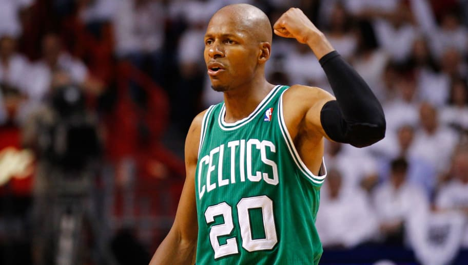 MIAMI, FL - JUNE 05:  Ray Allen #20 of the Boston Celtics reacts in the fourth quarter against the Miami Heat in Game Five of the Eastern Conference Finals in the 2012 NBA Playoffs on June 5, 2012 at American Airlines Arena in Miami, Florida. NOTE TO USER: User expressly acknowledges and agrees that, by downloading and or using this photograph, User is consenting to the terms and conditions of the Getty Images License Agreement.  (Photo by Mike Ehrmann/Getty Images)