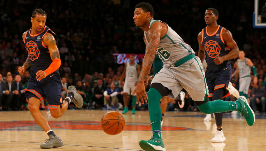NEW YORK, NY - FEBRUARY 24:  (NEW YORK DAILIES OUT)    Marcus Smart #36 of the Boston Celtics in action against the New York Knicks at Madison Square Garden on February 24, 2018 in New York City. The Celtics defeated the Knicks 121-112. NOTE TO USER: User expressly acknowledges and agrees that, by downloading and/or using this Photograph, user is consenting to the terms and conditions of the Getty Images License Agreement.  (Photo by Jim McIsaac/Getty Images)