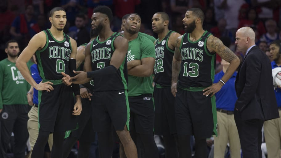 PHILADELPHIA, PA - MAY 7: Jayson Tatum #0, Jaylen Brown #7, Al Horford #42, and Marcus Morris #13 of the Boston Celtics look on from the bench against the Philadelphia 76ers  during Game Four of the Eastern Conference Second Round of the 2018 NBA Playoff at Wells Fargo Center on May 7, 2018 in Philadelphia, Pennsylvania. NOTE TO USER: User expressly acknowledges and agrees that, by downloading and or using this photograph, User is consenting to the terms and conditions of the Getty Images License Agreement. (Photo by Mitchell Leff/Getty Images)