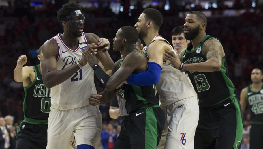 PHILADELPHIA, PA - MAY 7: Joel Embiid #21 of the Philadelphia 76ers gets into an altercation with Terry Rozier #12 of the Boston Celtics as Jayson Tatum #0 and Marcus Morris #13 of the Boston Celtics and Ben Simmons #25 of the Philadelphia 76ers try to break them up in the second quarter during Game Four of the Eastern Conference Second Round of the 2018 NBA Playoffs at Wells Fargo Center on May 7, 2018 in Philadelphia, Pennsylvania. NOTE TO USER: User expressly acknowledges and agrees that, by downloading and or using this photograph, User is consenting to the terms and conditions of the Getty Images License Agreement. (Photo by Mitchell Leff/Getty Images)
