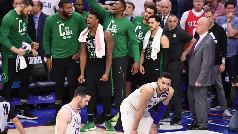 PHILADELPHIA, PA - MAY 5: Ben Simmons #25 of the Philadelphia 76ers reacts after losing the game against the Boston Celtics in Game Three of the Eastern Conference Semifinals of the 2018 NBA Playoffs at Wells Fargo Center on May 5, 2018 in Philadelphia, Pennsylvania. NOTE TO USER: User expressly acknowledges and agrees that, by downloading and or using this photograph, User is consenting to the terms and conditions of the Getty Images License Agreement. (Photo by Matteo Marchi/Getty Images) *** Local Caption *** Ben Simmons