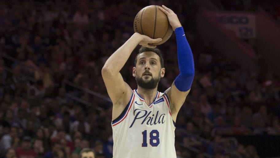 PHILADELPHIA, PA - MAY 5: Marco Belinelli #18 of the Philadelphia 76ers shoots the ball against the Boston Celtics during Game Three of the Eastern Conference Second Round of the 2018 NBA Playoff at Wells Fargo Center on May 5, 2018 in Philadelphia, Pennsylvania. NOTE TO USER: User expressly acknowledges and agrees that, by downloading and or using this photograph, User is consenting to the terms and conditions of the Getty Images License Agreement. (Photo by Mitchell Leff/Getty Images) *** Local Caption *** Marco Belinelli