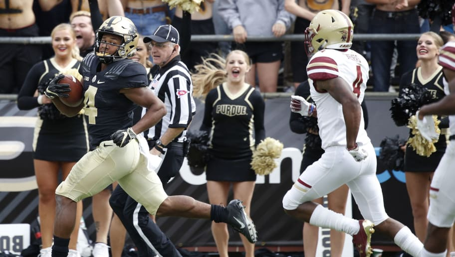 WEST LAFAYETTE, IN - SEPTEMBER 22: Rondale Moore #4 of the Purdue Boilermakers runs downfield for a 70-yard touchdown after catching a pass in the second quarter of the game against the Boston College Eagles at Ross-Ade Stadium on September 22, 2018 in West Lafayette, Indiana. (Photo by Joe Robbins/Getty Images)