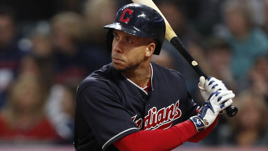 CLEVELAND, OH - SEPTEMBER 22: Michael Brantley #23 of the Cleveland Indians bats against the Boston Red Sox in the first inning at Progressive Field on September 22, 2018 in Cleveland, Ohio. The Indians defeated the Red Sox 5-4 in 11 innings.  (Photo by David Maxwell/Getty Images)