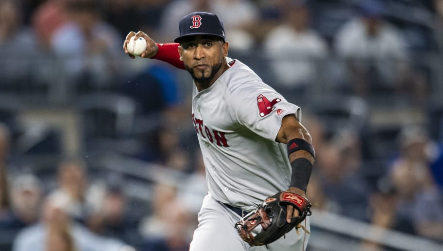 NEW YORK, NY - SEPTEMBER 19: Eduardo Nunez #36 of the Boston Red Sox throws to first base during the first inning of a game against the New York Yankees on September 19, 2018 at Yankee Stadium in the Bronx borough of New York City. (Photo by Billie Weiss/Boston Red Sox/Getty Images)
