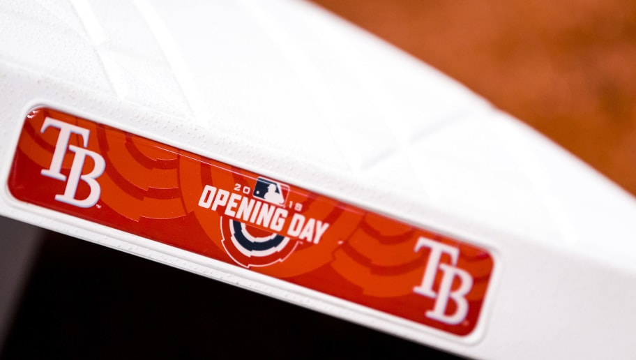 ST. PETERSBURG, FL - MARCH 29: The logo is shown on the bases before the Opening Day game between the Boston Red Sox and the Tampa Bay Rays on March 29, 2018 at Tropicana Field in St. Petersburg, Florida . (Photo by Billie Weiss/Boston Red Sox/Getty Images)