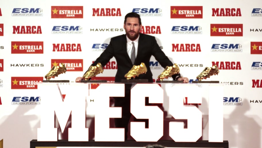 BARCELONA, SPAIN - DECEMBER 18:  Lionel Messi of FC Barcelona poses with his five European Golden Boot awards after receiving the 2017-18 Season European Golden Shoe award for Europe's top scorer for the fifth time during the Golden Shoe Award Ceremony on December 18, 2018 in Barcelona, Spain.  (Photo by Miquel Benitez/Getty Images)