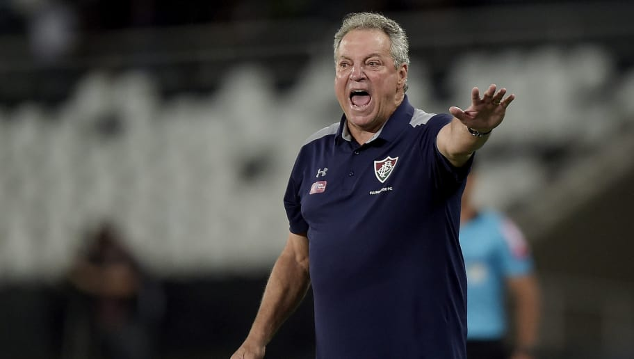 RIO DE JANEIRO, BRAZIL - MAY 14: Abel Braga, Head Coach of Fluminense reacts during the match between Botafogo and Fluminense as part of Brasileirao Series A 2018 at Engenhao Stadium on May 14, 2018 in Rio de Janeiro, Brazil. (Photo by Alexandre Loureiro/Getty Images)