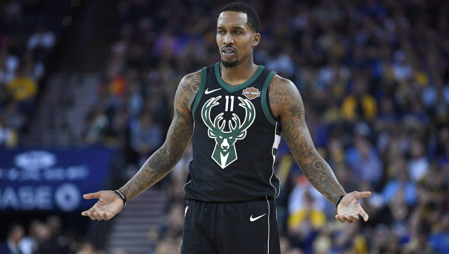OAKLAND, CA - MARCH 29:  Brandon Jennings #11 of the Milwaukee Bucks looks on against the Golden State Warriors during an NBA basketball game at ORACLE Arena on March 29, 2018 in Oakland, California. NOTE TO USER: User expressly acknowledges and agrees that, by downloading and or using this photograph, User is consenting to the terms and conditions of the Getty Images License Agreement.  (Photo by Thearon W. Henderson/Getty Images)