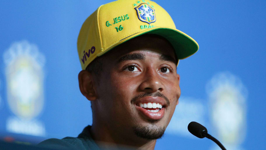 SOCHI, RUSSIA - JUNE 14:  Gabriel Jesus of Brazil attends the media during a Brazil press conference ahead of the FIFA World Cup 2018 at Yug-Sport Stadium on June 14, 2018 in Sochi, Russia.  (Photo by Buda Mendes/Getty Images)
