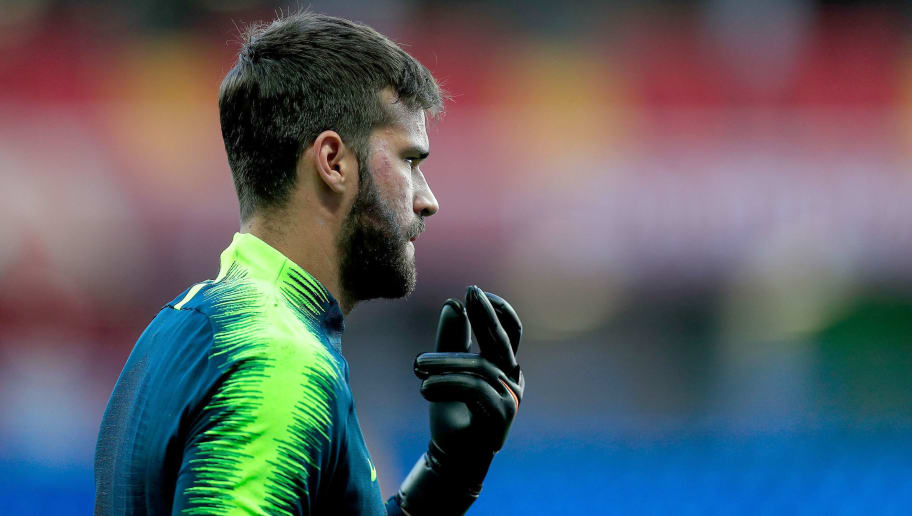 ROSTOV-ON-DON, RUSSIA - JUNE 16:  Alisson of Brazil looks on during a Brazil training session ahead of the FIFA World Cup 2018 at Rostov Arena on June 16, 2018 in Rostov-on-Don, Russia.  (Photo by Buda Mendes/Getty Images)