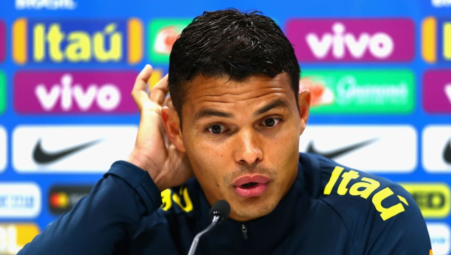 ENFIELD, ENGLAND - MAY 29:  Thiago Silva of Brazil speaks to the media during a Brazil press conference ahead of the international friendly between Brazil and Croatia at Tottenham Hotspur Training Centre on May 29, 2018 in Enfield, England.  (Photo by Clive Rose/Getty Images)